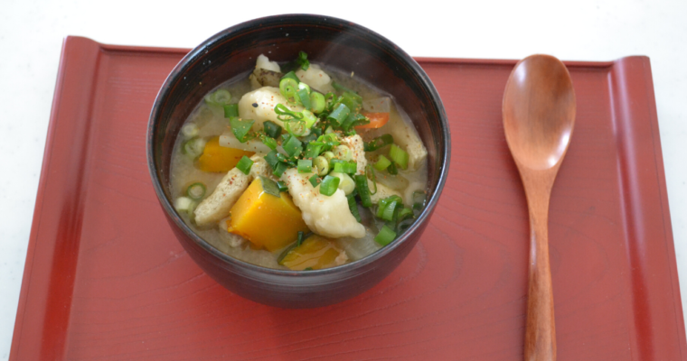 Suiton ( Japanese wheat dumpling Miso soup)