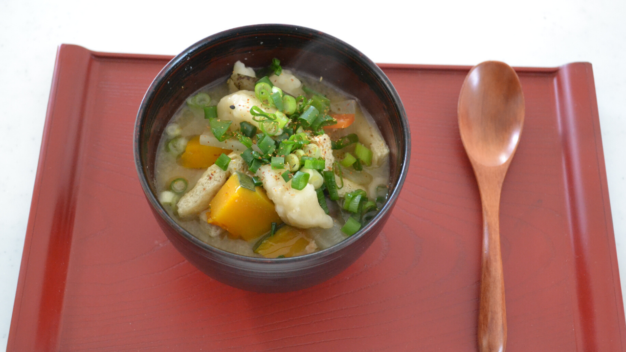 Suiton ( Japanese wheat dumpling Miso soup)