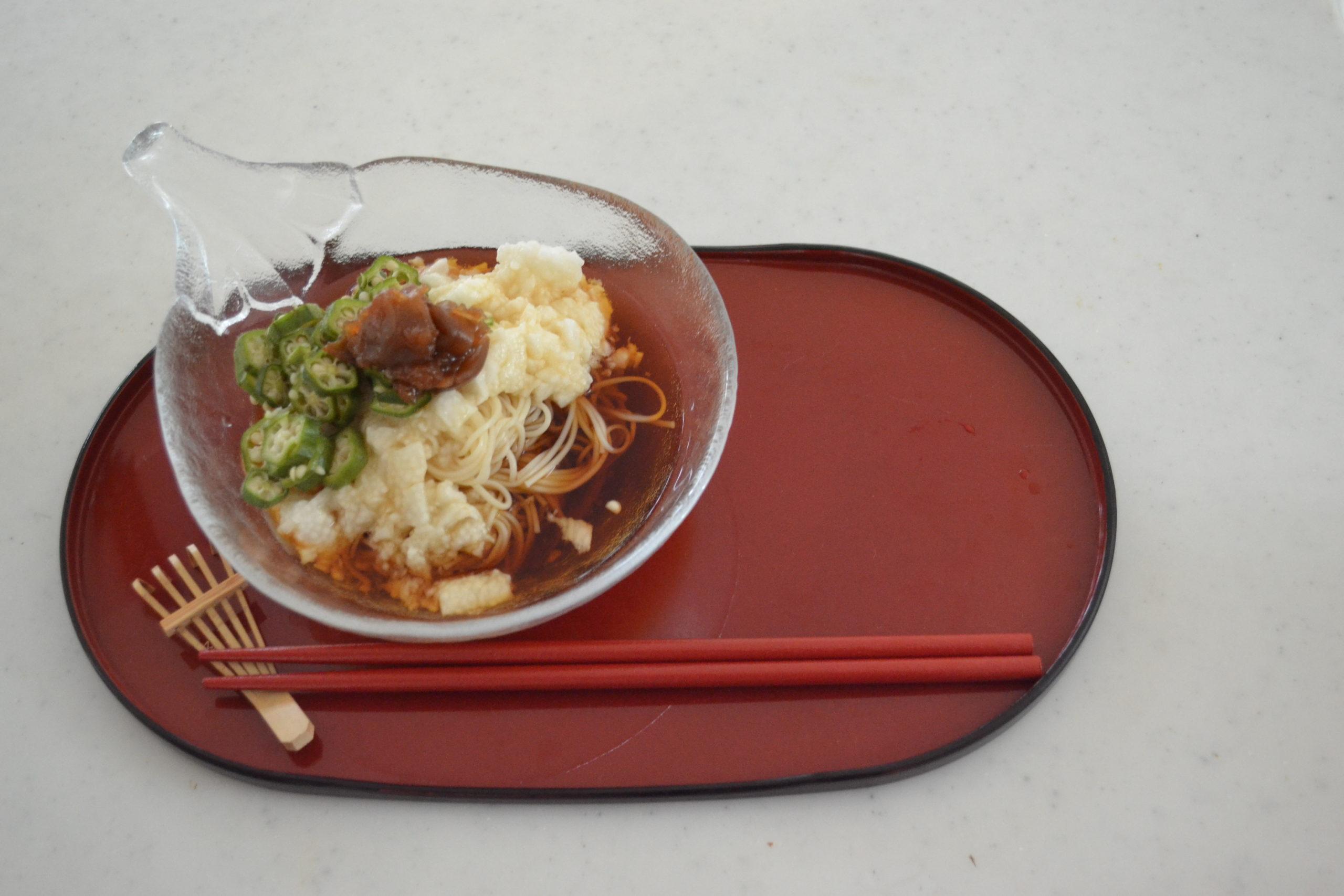 Sticky Summer Somen noodles   Nagaimo and Okura Somen Noodles